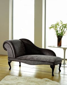 Vintage Velvet Chaise Longue Grey Sofa Lounge Bed Antique Living Room Bedroom