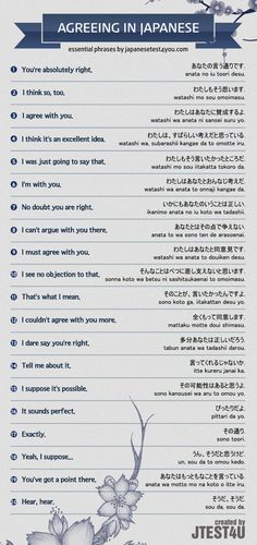 Infographic: how to agree with someone in Japanese. http://japanesetest4you.com/infographic-agree-someone-japanese/