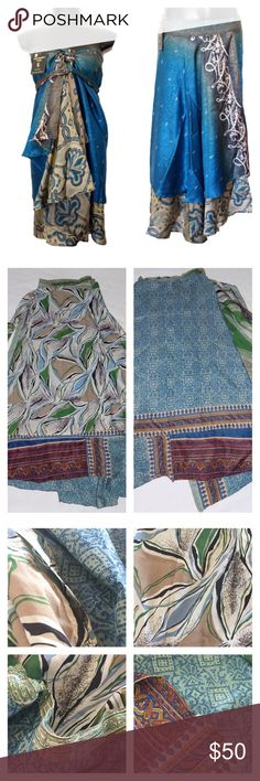 The Magic Wrap This beautiful silk wrap can be worn hundreds of ways...Skirt, dress, sarong, scarf...you name it, this wrap can do it. Beautiful vibrant colors. This wrap is in great condition!!! Instructions included. This skirt is One Size fits Most! Stock photo is for example of fit. See last three photos for actual skirt patterns and colors. The Magic Wrap Skirts