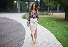 ruffle bell sleeve body suit. nude pencil skirt. bow pencil skirt