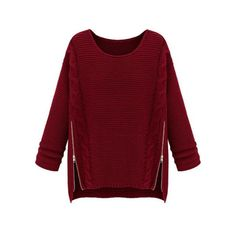 Wine Red Long Sleeve Side Zipper Cable Knit Sweater ($19) ❤ liked on Polyvore featuring tops, sweaters, red sweater, side zipper sweater, chunky cable knit sweater, cable sweater and cable-knit sweater