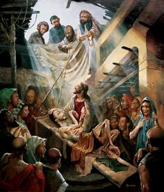 The crippled man is helped to see Jesus by his friends. Lowered on a board, he comes close to Jesus and finds healing in his touch Religious Pictures, Bible Pictures, Jesus Pictures, Religious Art, Bible Photos, Christian Images, Christian Art, Bible Illustrations, Jesus Christus