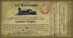Vintage Train Ticket Party Invitation - 4x8. $15.00, via Etsy.