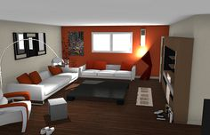 Living room rendering in 3D- Free Home Design Software - 3D architecture http://www.homebyme.com