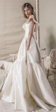 lihi hod 2018 bridal off the shoulder v neck simple clean bodice elegant ball gown a line wedding dress with pockets chapel train (15) mv sdv -- Lihi Hod 2018 Wedding Dresses