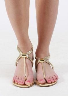 Metallic Snake Skin Sandal #tstrap #gold #snakeskin #sandals #shoes #kieus