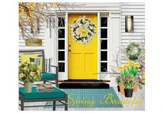 Tee Jay from the Olioboard Fan Room brings spring to your front porch! See how your gloomy winter porch can be refreshed with colorful blooms, wreath, architectural details and more! Wake up your spring porch. Turquoise Furniture, Front Porch Makeover, Outdoor Living, Outdoor Decor, Outdoor Ideas, Winter Porch, Porch Decorating, Decorating Ideas, Decor Ideas