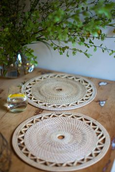 WOVEN RATTAN PLACEMATS