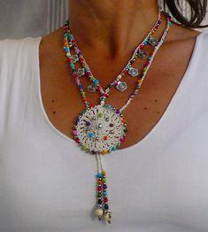 BLANCA flor MANDALA crochet COLLAR de Hippie flor espiral de