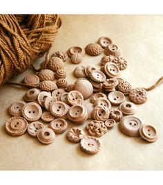 buttons - carved from wood