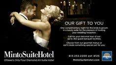 Minto Suite Hotel Ottawa - Our  gift to you is one complimentary night for the bride and groom in a luxury suite for the pleasure of hosting your wedding reception.