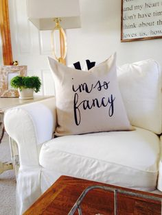 i'm so fancy linen & down pillow now in the shop! » The House of Belonging. I like the font!