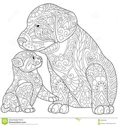 Stock vector of 'Stylized cute friends cat (young kitten) and labrador dog (puppy). Freehand sketch for adult anti stress coloring book page with doodle and zentangle elements. Dog Coloring Page, Animal Coloring Pages, Coloring Book Pages, Printable Coloring Pages, Coloring Pages For Kids, Coloring Sheets, Doodle Coloring, Mandalas Painting, Mandalas Drawing