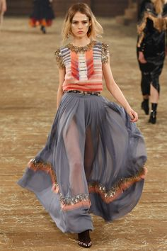 Chanel pre-autumn/winter 2014 - add drama with a sheer floor length skirt.