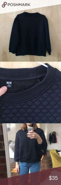 UNIQLO Sweater UNIQLO sweater in a neoprene-like quilted material - size XL. Fits like a medium for a loose, boxy fit. Barely worn. No trades. Uniqlo Sweaters Crew & Scoop Necks