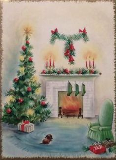 Merry fire at Christmas. Christmas Scenes, Christmas Past, Christmas Countdown, Christmas Holidays, Christmas Things, Vintage Christmas Images, Retro Christmas, Vintage Holiday, Vintage Cards
