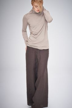 Brown Linen Pants/ Extravagant Drop Crotch Chocolate by AryaSense