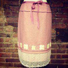 Pink tweed, petals, ribbon, lace. Ellipse original. Size 2, $129