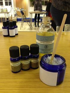 Making our own body scrubs with essential oils at Neil's Yard Remedies in Covent Garden London!