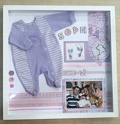 """Quadro decorativo """"Memórias do bebê"""" www.facebook.com/raizescrapbook"""