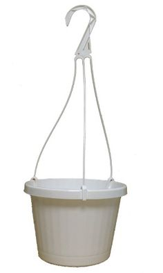 10 NEW ~ 10 Inch Hanging Basket Plastic Nursery Pots ~ White ~ Pots ARE 9 Inch Round At the Top and 6.2 Inch Deep and Includes Internal Dish.