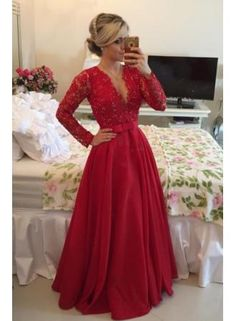 USD$184.37 - Red Long Sleeves Prom Dresses 2016 V Neck Lace Pearls Floor Length A-line Stunning Evening Gowns  - www.babyonlinedress.com