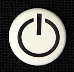 Power On  Button Pinback Badge 1 inch by theangryrobot on Etsy, $1.00