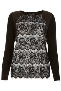 Knitted Lace Satin Front Top