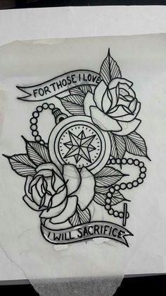 This is the actual sketch for my tattoo. Designed by Dakota Parker: American Classic Tattoo 12 Tattoos, Line Art Tattoos, Watch Tattoos, Tattoo Flash Art, Body Art Tattoos, Tattoo Drawings, Traditional Tattoo Leg Sleeve, Traditional Tattoo Art, American Classic Tattoo