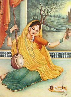 Meerabai - Devotee of Lord Krishna (Reprint on Paper - Unframed))