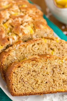 This tropical banana bread has the flavor of a tropical island drink. Coconut milk, coconut oil, shredded coconut and diced pineapple, help create a piña colada taste that can't be beat!