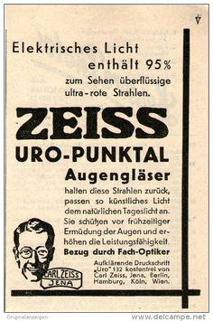 Original-Werbung/ Anzeige 1934 - ZEISS URO PUNKTAL AUGENGLÄSER / CARL ZEISS JENA  - ca. 70 x 100 mm