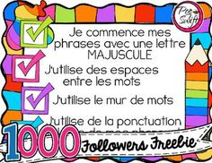 Support for daily writing tasks and at writing centers for your primary students. Writing Posters, Writing Anchor Charts, French Teaching Resources, Classroom Resources, Teaching Ideas, Teaching French Immersion, Free French, French Classroom, French Teacher