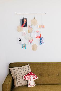 Getting organized, displaying childrens artwork, postcard display, decoraci