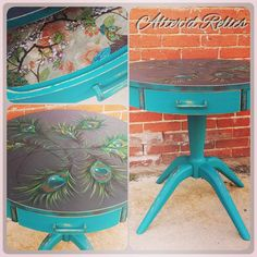 Love this hand painted peacock feather table. Via Altar'd Relics