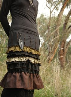 Gypsy layered ruffle skirt.