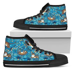 Tigers Playing Pattern Blue Men's High Tops  Custom printed high tops. Amazing colors and print quality. Lightweight canvas construction for maximum comfort. High quality EVA sole for exceptional traction and durability. Made with love just for you. Show Off Your Wild Side Today! #hightops #tigergear #WildAnimalist Top Shoes, Men's Shoes, Mens High Tops, Snug Fit, Tigers, Converse Chuck Taylor, High Top Sneakers, Just For You, Lace Up