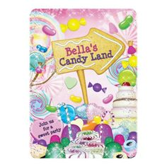 Candy Land Sweetie Birthday Party Invitation