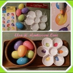 Montessori Toddler Easter Egg Transfer, can be transferred with hands or tongs. All items purchased at JoAnn's for under $5. Stickers were balloons but I cut off the hanging ribbon to pass as ballons. I used sharpies to turn the yellow balloon into orange and pink eggs.  EASTER, SPING, MONTESSORI, TODDLERS, TRANSFER,  WORK, LANGUAGE, EARLY MATH, ONE TO ONE CORRESPONDECE, COLORS, MATCHING, TONGS. ~Elsa