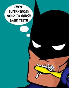 Kids Bathroom Decor Batman Superhero Brush Your Teeth by Woofworld