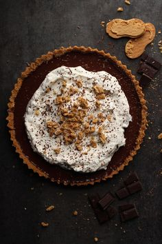 """Easy Chocolate Tart with Nutter Butter Crust"" -- This looks and sounds yummmmmy!"