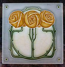 Jugendstil Fliese art nouveau tile Tegel NSTG Rosen gelb  top schön chic rar