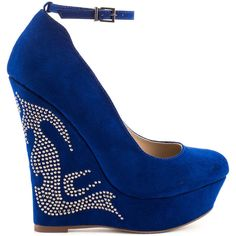JustFab Women's Raye - Cobalt ($55) ❤ liked on Polyvore featuring shoes, heels, wedges, sapatos, blue, wedge heel platform shoes, strap wedge shoes, synthetic shoes, rhinestone platform shoes and blue wedge heel shoes