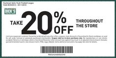 Dicks Sporting Goods 20% off Entire Purchase Printable Coupon August 8 - 11, 2013. www.chachingqueen.com #coupons #dickssportinggoods