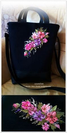 /сумка вышивка ленты / Leather Embroidery, Embroidery Bags, Silk Ribbon Embroidery, Hand Embroidery Patterns, Ribbon Art, Ribbon Crafts, Denim Tote Bags, Fabric Bags, Handmade Bags