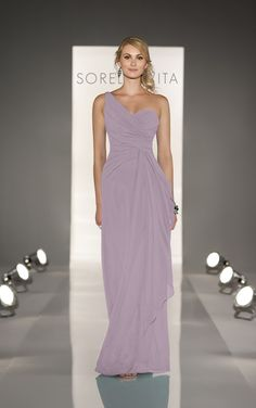 Bridesmaid - One shoulder bridesmaid dresses feature modified A-line gown in Chiffon. Exclusive designer one shoulder bridesmaid dresses by Sorella Vita.