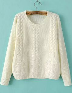 Shop White Round Neck Long Sleeve Lace Embellished Sweater online. Sheinside offers White Round Neck Long Sleeve Lace Embellished Sweater & more to fit your fashionable needs. Free Shipping Worldwide!