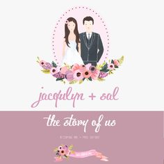 My custom illustrations on a wedding web site, wedding custom portrait illustration, couple portrait