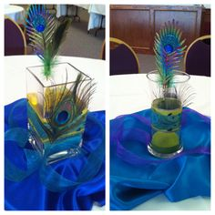 Peacock Centerpieces for Peacock Group Client Appreciation Dinner Peacock Butterfly, Peacock Theme, Peacock Design, Peacock Centerpieces, Our Wedding, Wedding Ideas, Themed Weddings, Peacocks, The Struts