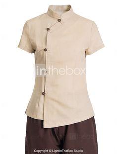 uniformes spa manga corta spa cuello mao bata de la mujer 2016 - €35.27